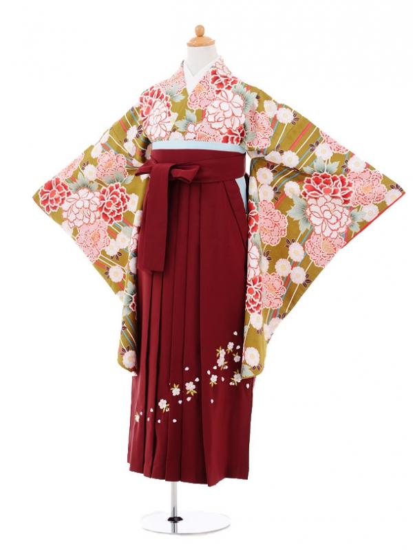 小学生卒業式袴レンタル(女の子)9279 グリーン地牡丹×エンジ
