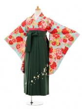 小学生卒業式袴女児9245 水色雪輪に花×グリ