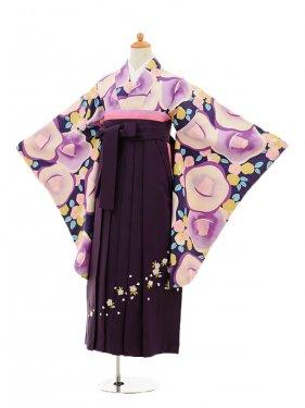 小学生卒業式袴女児9150 紫地椿×パープル袴
