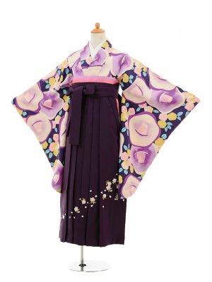 小学生卒業式袴レンタル(女の子)9150 紫地椿×パープル袴