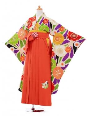 小学生卒業式袴女児9354 Lakokura紫梅×九