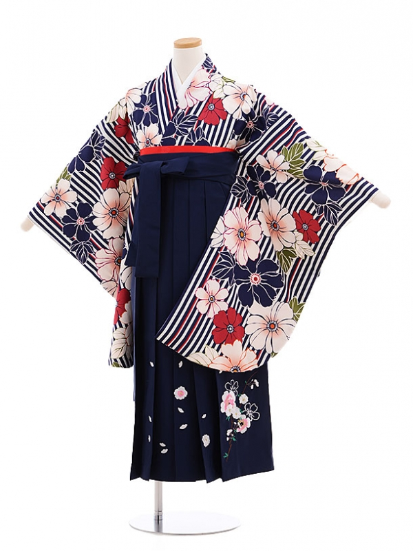 小学生卒業式袴レンタル(女の子)9595紺ストライプ花×紺袴