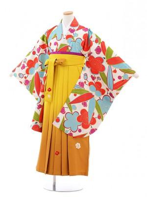 小学校卒業式袴レンタル(女の子)9747 白地梅笹×からし袴