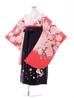 小学校卒業式袴レンタル(女の子)9769 ピンクぼかしバラ×パープル袴