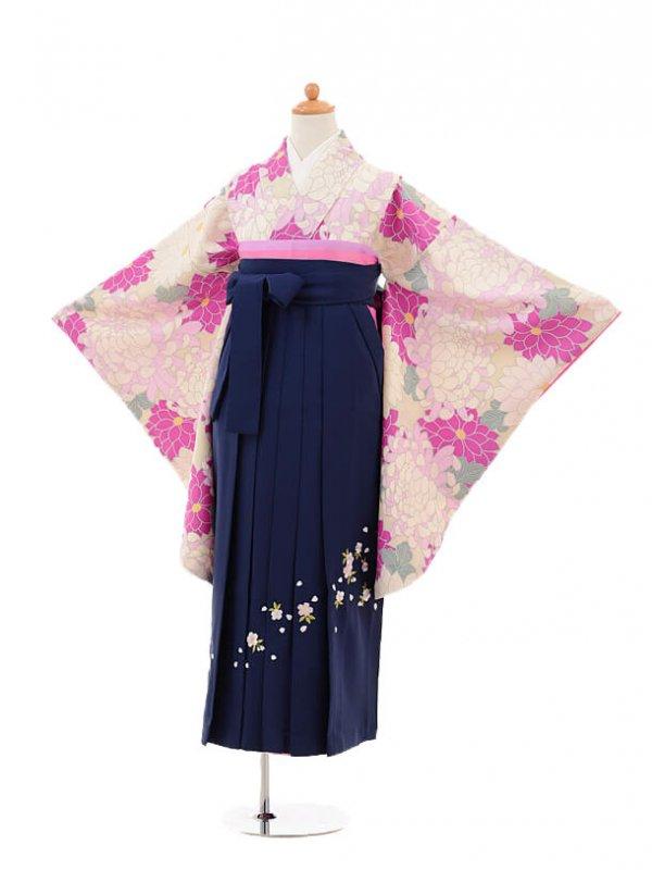 小学生卒業式袴女児9139 ベージュピンク菊×紺