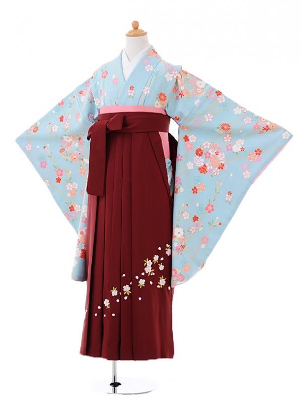小学生卒業式袴レンタル(女の子)9395水色花王×エンジ袴