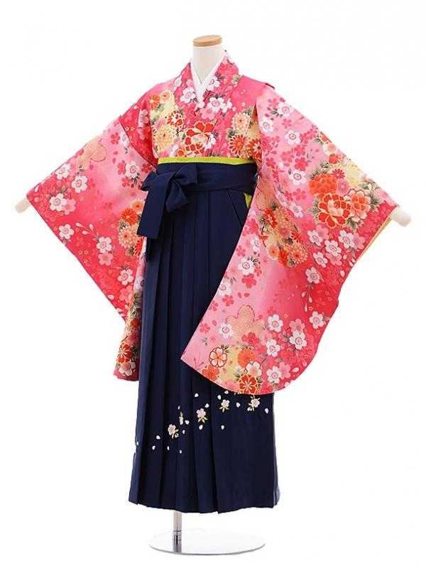 小学生卒業式袴レンタル(女の子)9643ピンクぼかしぼたん×紺袴