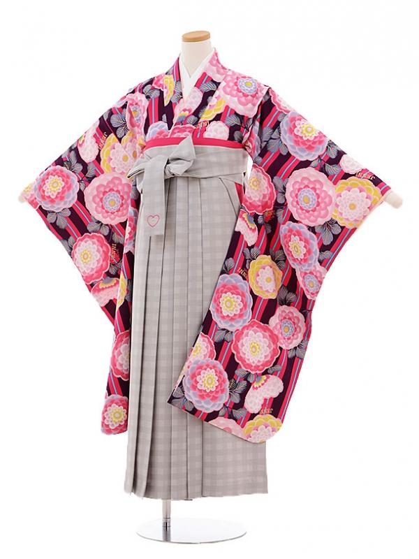 小学生卒業式袴レンタル9493JENNIlove紫地花×グレーチェック袴