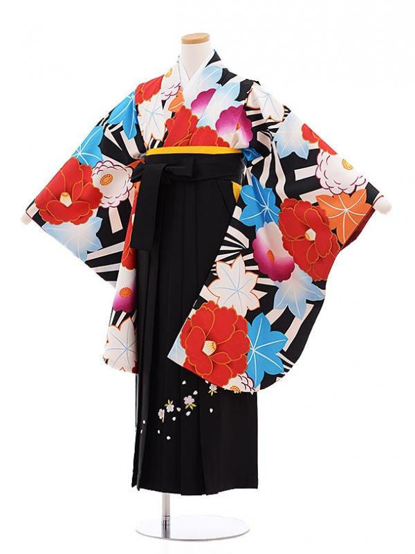 小学生卒業式袴レンタル(女の子)9605黒白椿×黒袴