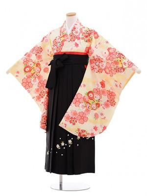小学生 卒業式 袴レンタル(女の子)9630クリーム色雲取り花×黒袴