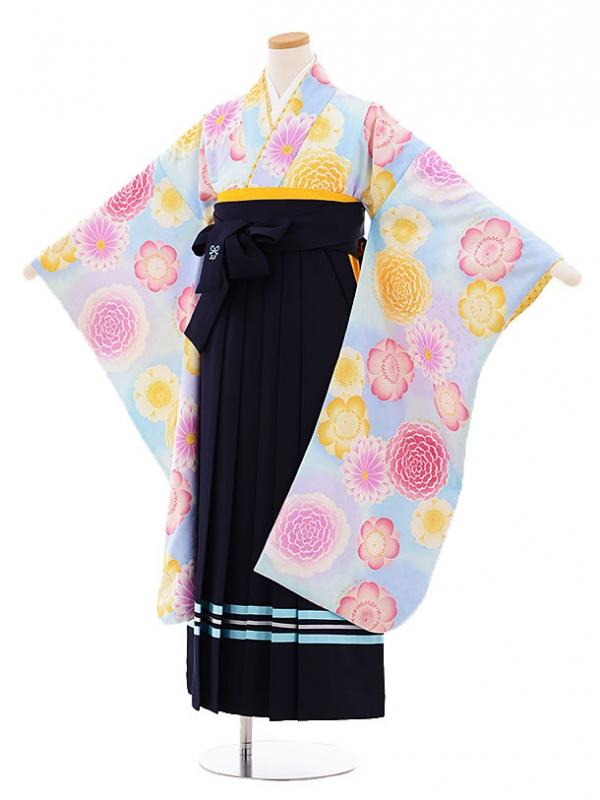 小学生卒業式袴9481ポンポネット(pomponette)水色花×紺袴