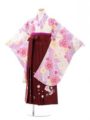 小学校卒業式袴レンタル(女の子)9727 クリーム地のしめ鹿の子×エンジ袴