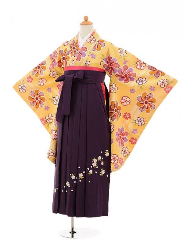 小学生卒業式袴レンタル(女の子)9158 黄色矢絣梅×パープ