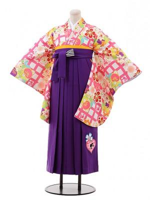 小学生 卒業式袴9923 Barbie 白 ピンク格子×パープル袴
