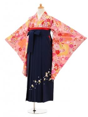 小学生卒業式袴女児9211 ピンク地花まり×紺