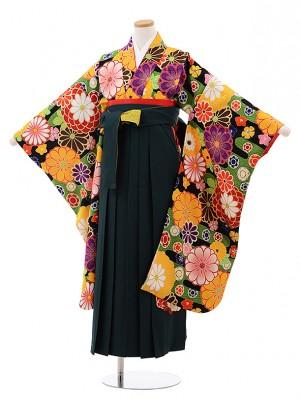 小学生 卒業式 袴 女児 9943 九重 黒地 菊×グリーン袴