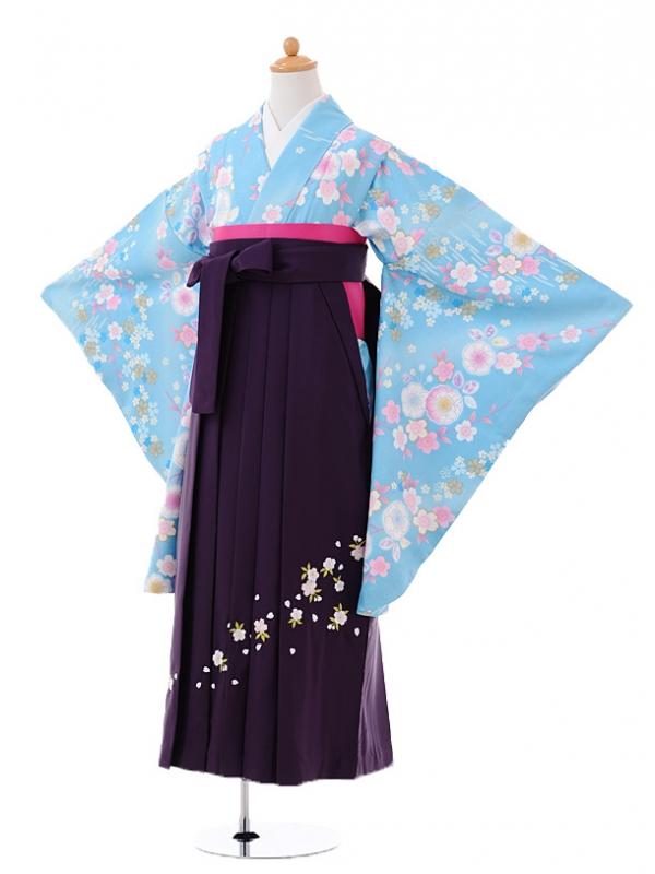 小学生卒業式袴レンタル(女の子)9393水色花×パープル袴