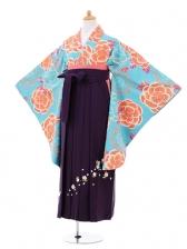 小学生卒業式袴女児9294 水色牡丹×パープル