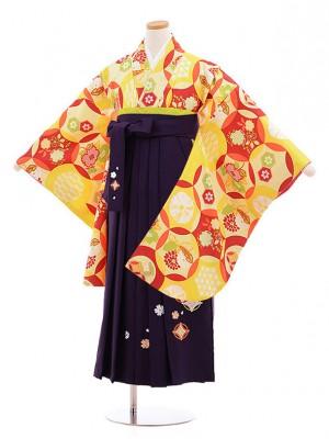 小学校卒業式袴レンタル(女の子)9855 黄色×紫袴