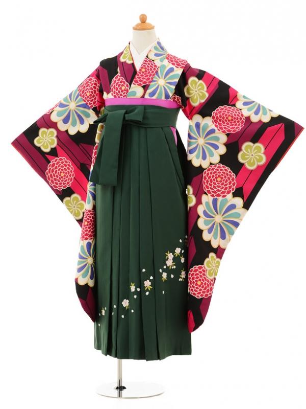 小学生卒業式袴レンタル(女の子)9200 黒地矢絣古典×グリ