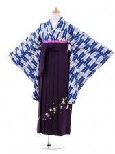 小学生卒業式袴女児9288 紺矢絣桜×パープル