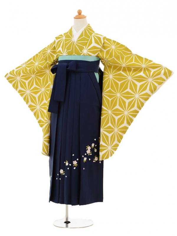 小学生卒業式袴レンタル(女の子)9216 からしグリーン麻の葉