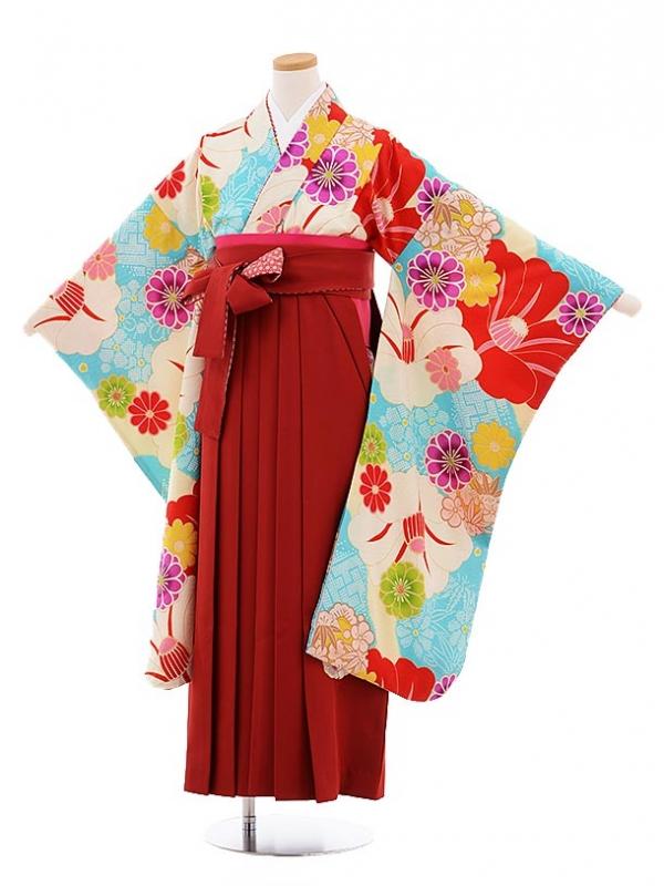 小学生卒業式袴9474瑞城さくら×JAPANSTYLE水色に椿×エンジ袴