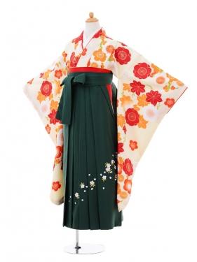 小学生卒業式袴女児9348 クリーム梅×グリーン袴