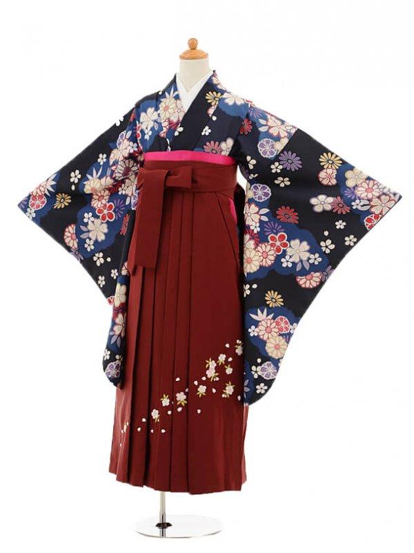 小学生卒業式袴レンタル(女の子)9175 黒地グレー雲取り花