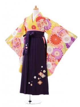 小学生卒業式袴女児9416黄色菊に花くす玉×