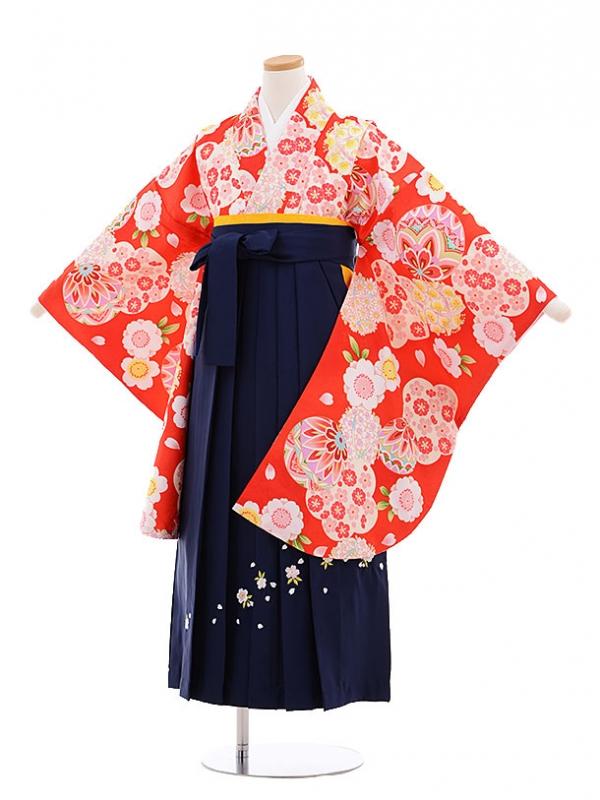 小学生卒業式袴レンタル(女の子)9639赤地桜まり×紺袴