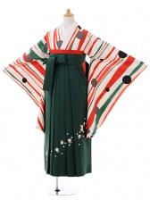 小学生卒業式袴女児9397白地赤ストライプ玉×緑