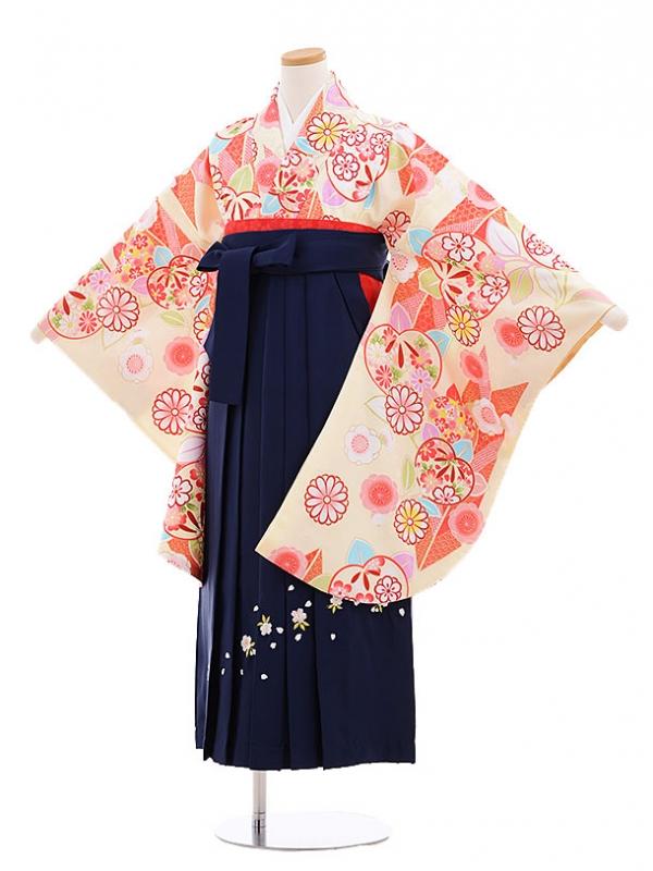 小学生卒業式袴レンタル(女の子)9638クリーム地矢柄橘×紺袴