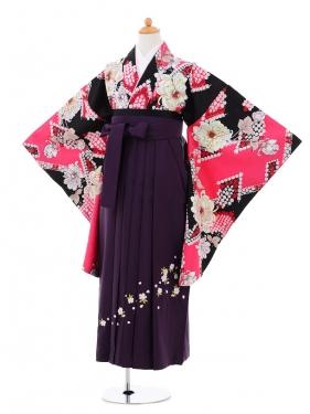 小学生卒業式袴女児9285 黒ピンク洋花×パープ