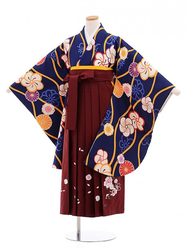 小学生卒業式袴レンタル(女の子)9607紺地ねじり梅×エンジ袴