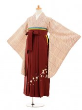 小学生卒業式袴女児9204 ベージュ格子×エンジ