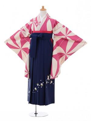小学生卒業式袴レンタル(女の子)9318 ピンク変わり麻の葉