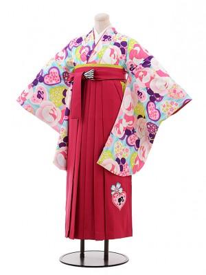小学生 卒業式 袴 女児 9926 Barbie 水色 バラ×ピンク袴