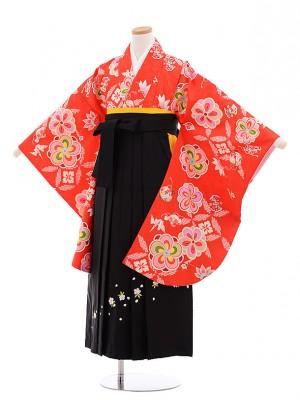 小学生 卒業式 袴レンタル(女の子)9632赤地ねじり梅×黒袴