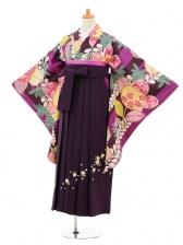 小学生卒業式袴女児9149 紫地橘×パープル袴
