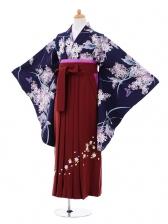 小学生卒業式袴女児9301 紺地紫花×エンジ袴