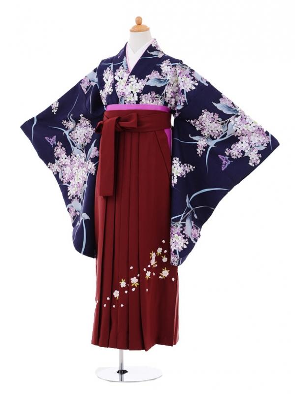 小学生卒業式袴レンタル(女の子)9301 紺地紫花×エンジ袴
