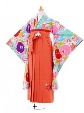 小学生卒業式袴女児9357 Lakokura水色椿×オ