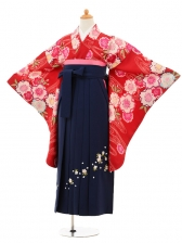 小学生卒業式袴女児9189 赤地流水桜×紺袴