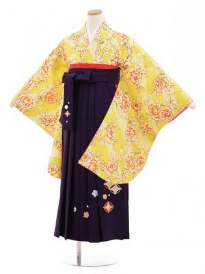 小学校卒業式袴レンタル(女の子)9844 黄色ぼたん×紫袴