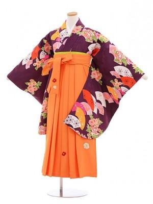 小学生卒業式袴レンタル(女の子)9586紫扇花×オレンジ袴