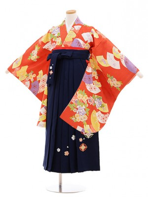 小学校卒業式袴レンタル(女の子)9859 赤茶扇花×紺袴