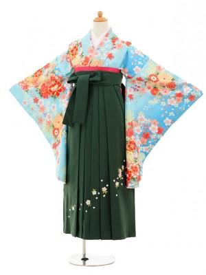 小学生卒業式袴レンタル(女の子)9196 水色桜×グリーン袴