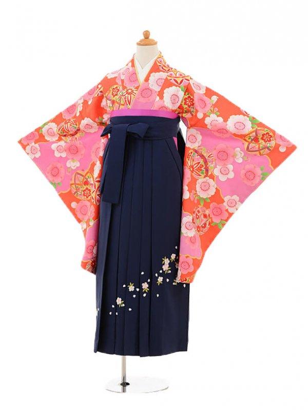 小学生卒業式袴レンタル(女の子)9160 オレンジ色まり×紺袴