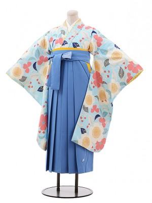 小学生 卒業式 袴 女児 9912 ポンポネット 水色 花×水色袴